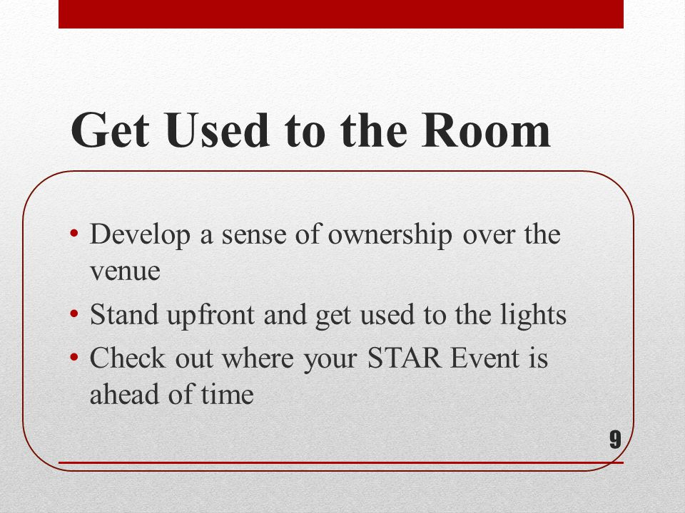 30 Fully read through and highlight important details and parts that you must include in your STAR Event depending on the category you are competing in.