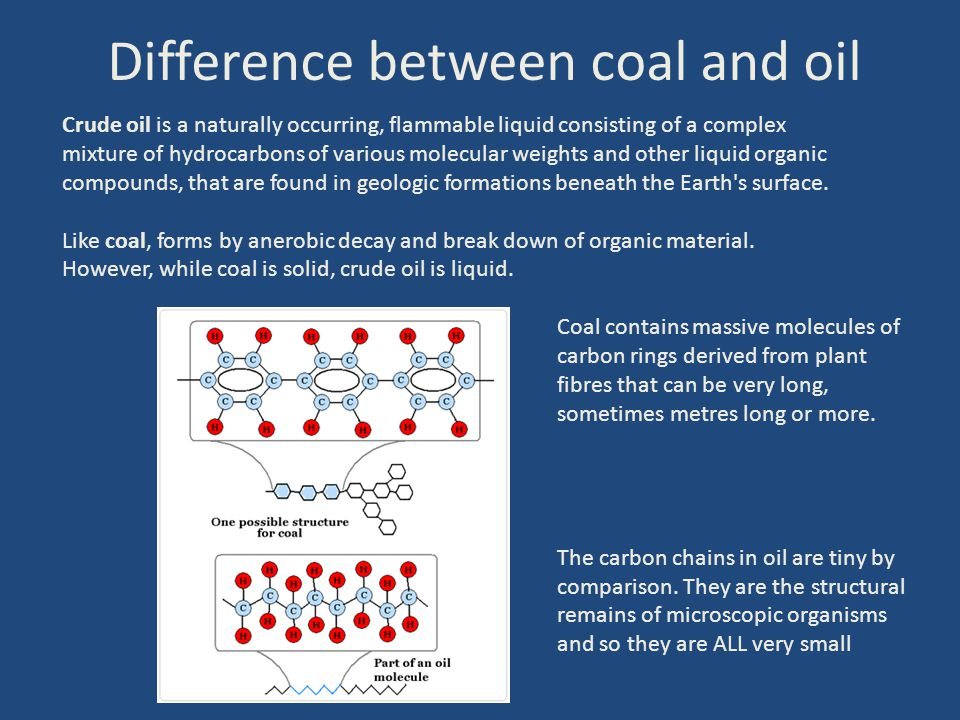 Difference between coal and oil Crude oil is a naturally occurring, flammable liquid consisting of a complex mixture of hydrocarbons of various molecu