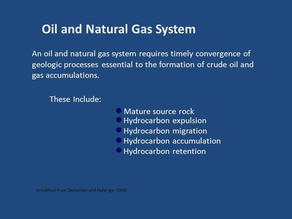 Oil and Natural Gas System An oil and natural gas system requires timely convergence of geologic processes essential to the formation of crude oil and