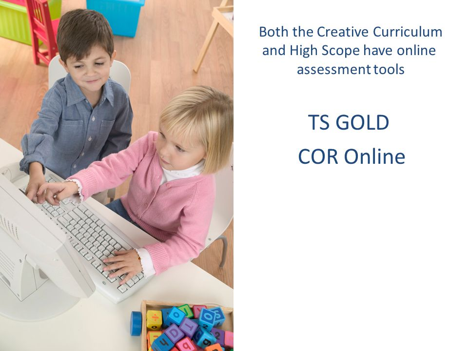 Both the Creative Curriculum and High Scope have online assessment tools TS GOLD COR Online