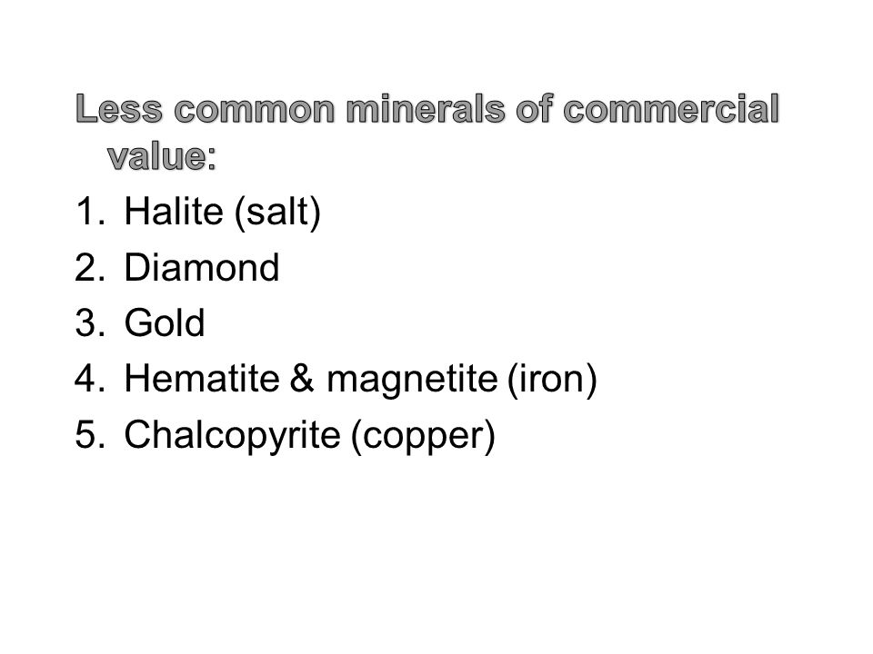 Physical Properties of Minerals 1.Colour 2.Streak 3.Lustre 4.Hardness 5.External crystal 6.Cleavage (most important) 7.Fracture 8.Specific gravity