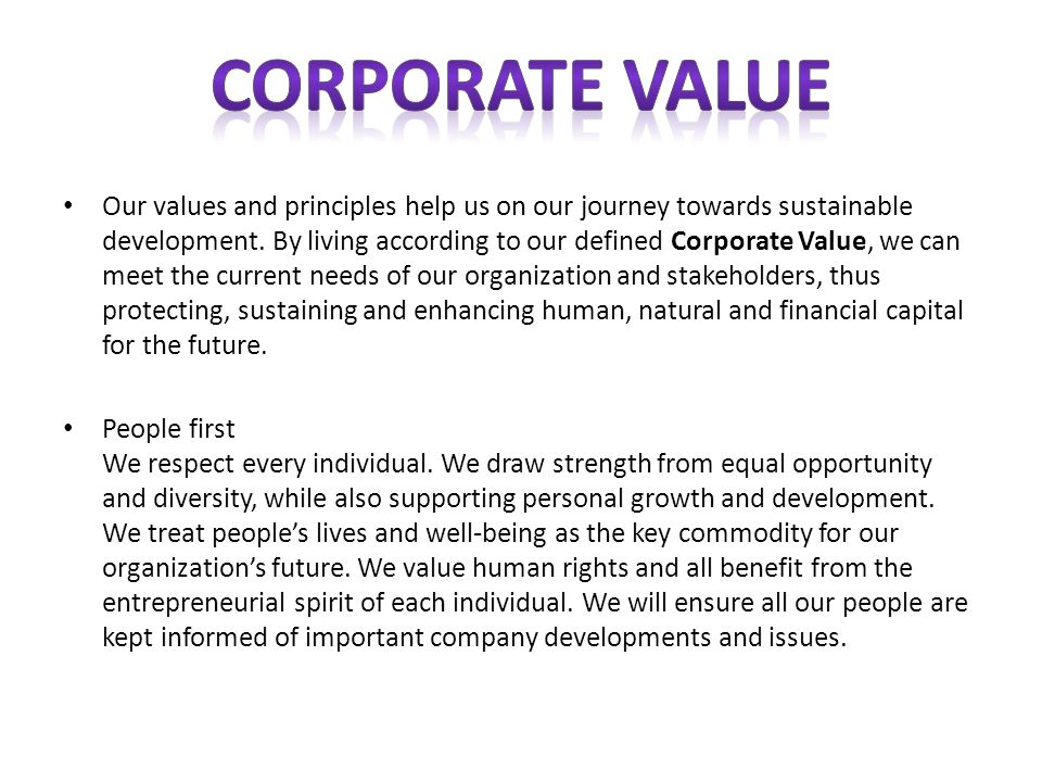 Our values and principles help us on our journey towards sustainable development.