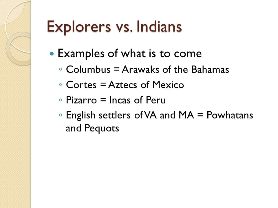 Explorers vs. Indians Examples of what is to come Columbus = Arawaks of the Bahamas Cortes = Aztecs of Mexico Pizarro = Incas of Peru English settlers