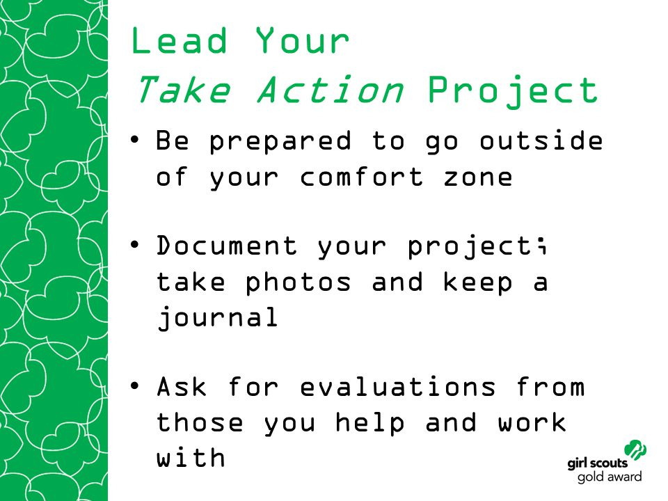 Lead Your Take Action Project Be prepared to go outside of your comfort zone Document your project; take photos and keep a journal Ask for evaluations from those you help and work with