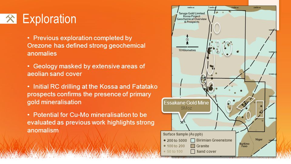Exploration Previous exploration completed by Orezone has defined strong geochemical anomalies Geology masked by extensive areas of aeolian sand cover Initial RC drilling at the Kossa and Fatatako prospects confirms the presence of primary gold mineralisation Potential for Cu-Mo mineralisation to be evaluated as previous work highlights strong anomalism 100 to 200 200 to 5000 50 to 100 Surface Sample (Au ppb) Birimian Greenstone Granite Sand cover Essakane Gold Mine 5Moz Essakane Gold Mine 5Moz