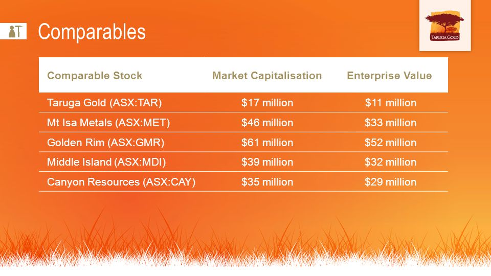 Comparable StockMarket Capitalisation Enterprise Value Taruga Gold (ASX:TAR)$17 million$11 million Mt Isa Metals (ASX:MET)$46 million$33 million Golden Rim (ASX:GMR)$61 million$52 million Middle Island (ASX:MDI)$39 million$32 million Canyon Resources (ASX:CAY)$35 million$29 million Comparables