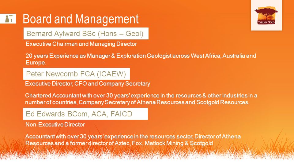 Bernard Aylward BSc (Hons – Geol) Board and Management Executive Chairman and Managing Director 20 years Experience as Manager & Exploration Geologist across West Africa, Australia and Europe.
