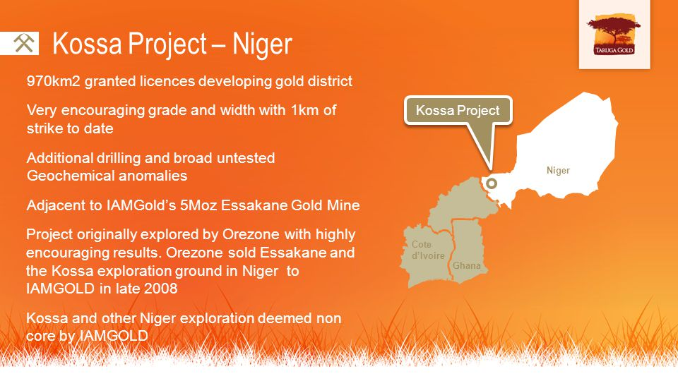 Kossa Project – Niger 970km2 granted licences developing gold district Very encouraging grade and width with 1km of strike to date Additional drilling and broad untested Geochemical anomalies Adjacent to IAMGolds 5Moz Essakane Gold Mine Project originally explored by Orezone with highly encouraging results.