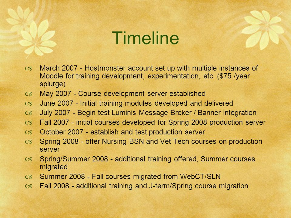 Timeline March 2007 - Hostmonster account set up with multiple instances of Moodle for training development, experimentation, etc. ($75 /year splurge)