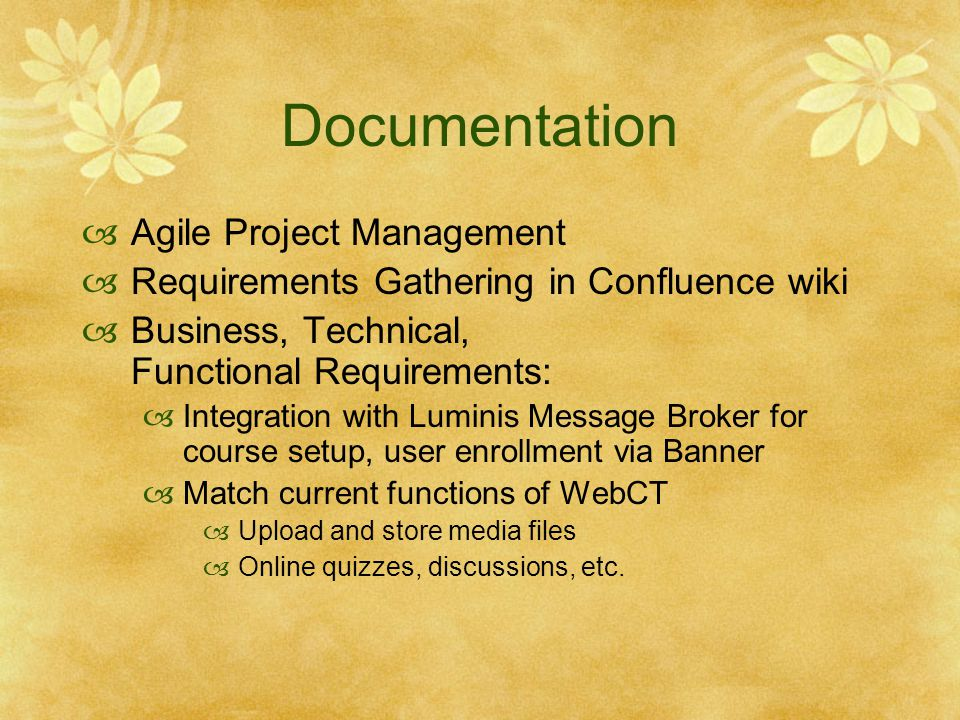 Documentation Agile Project Management Requirements Gathering in Confluence wiki Business, Technical, Functional Requirements: Integration with Lumini