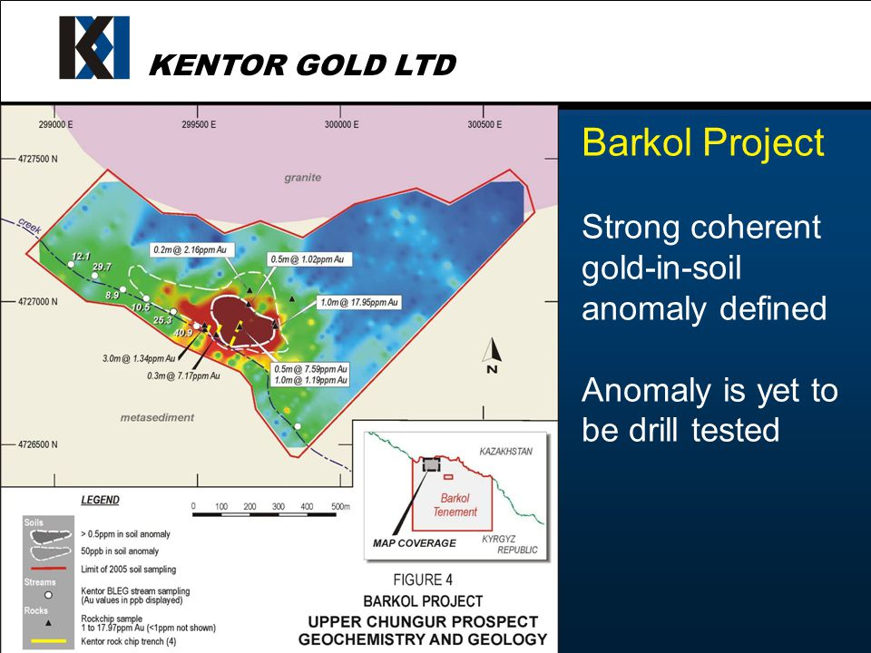 KENTOR GOLD LTD Barkol Project Strong coherent gold-in-soil anomaly defined Anomaly is yet to be drill tested