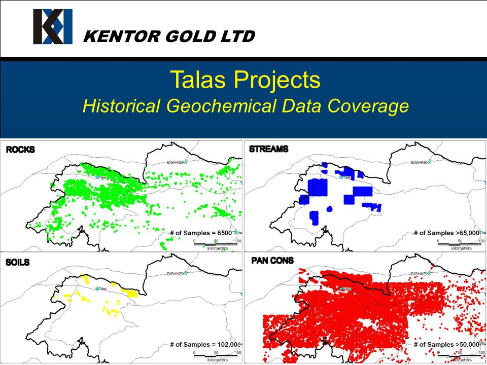 KENTOR GOLD LTD Talas Projects Total 140 targets identified / ranked in late 2004 34 priority targets tested in the field 16 targets with positive signs of gold mineralisation Best 4 on open ground located in Kyrgyz Range acquired Subsequent exploration in 2005 upgraded 3 (Uzunbulak, Barkol, Karabalta)