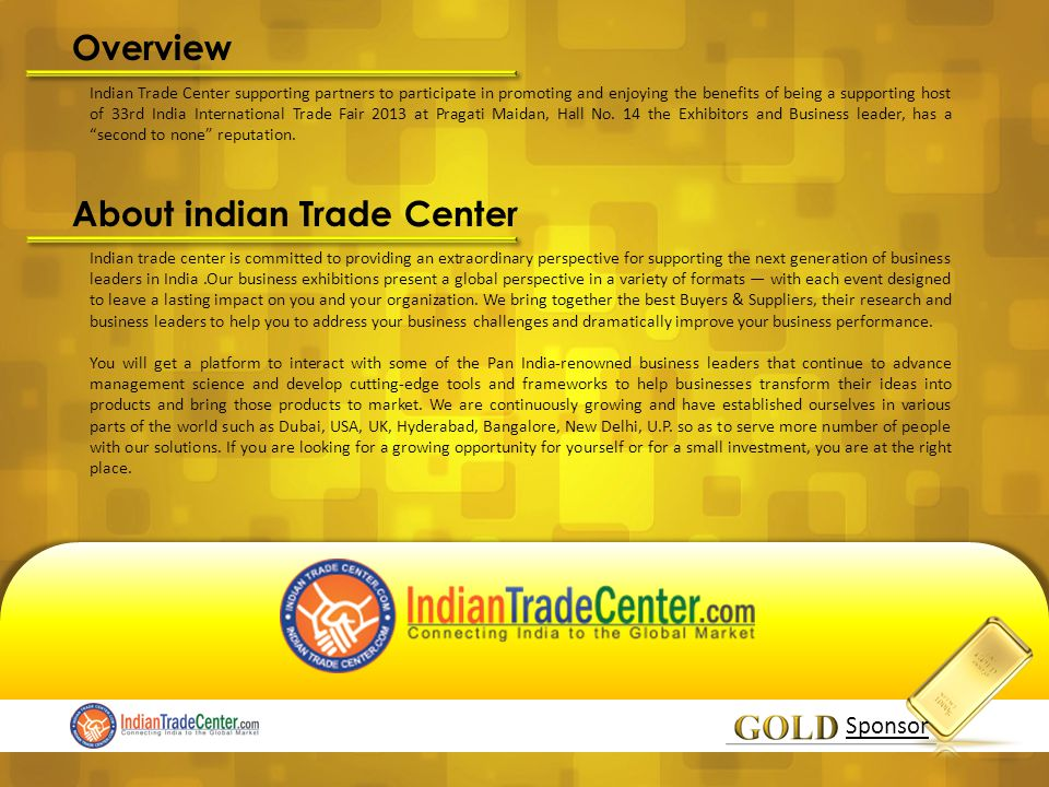 Indian Trade Center Inviting Gold Sponsor as a YOU Sponsor