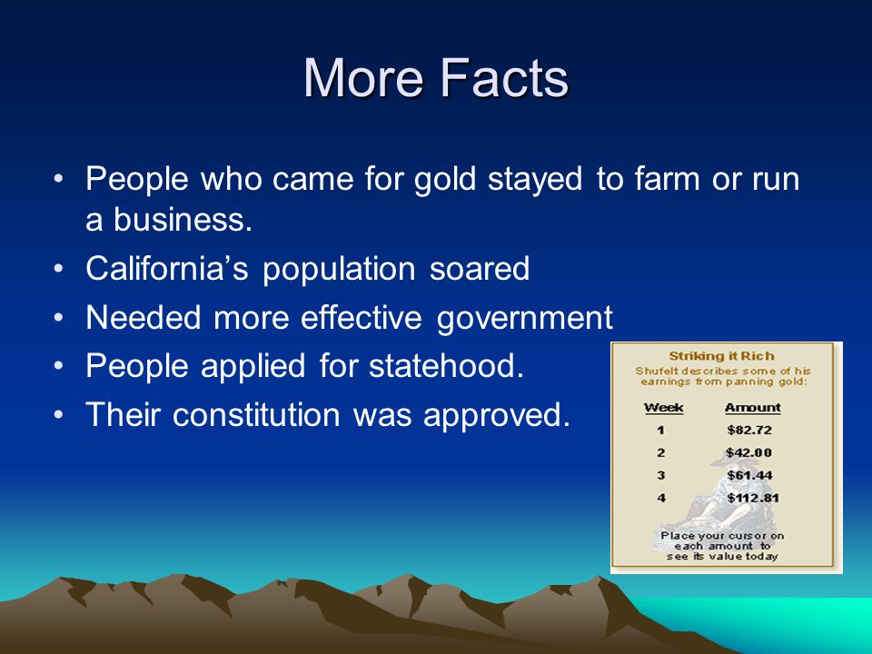 More Facts People who came for gold stayed to farm or run a business.