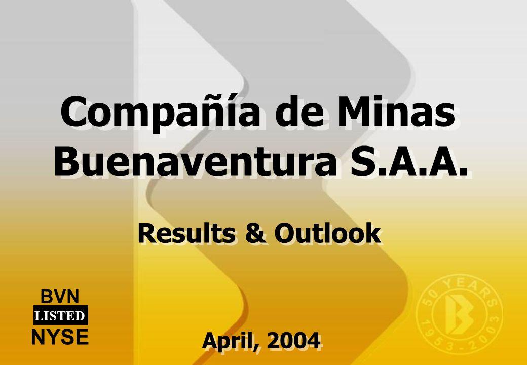 Results & Outlook BVN LISTED NYSE Compañía de Minas Buenaventura S.A.A. April, 2004