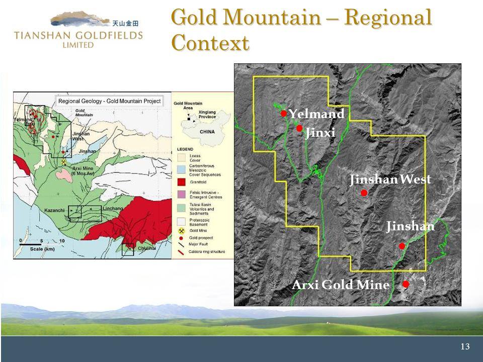 13 Jinshan West Jinshan Gold Mountain – Regional Context Yelmand Jinxi Jinshan West Jinshan Arxi Gold Mine