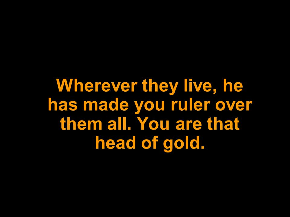 Wherever they live, he has made you ruler over them all. You are that head of gold.