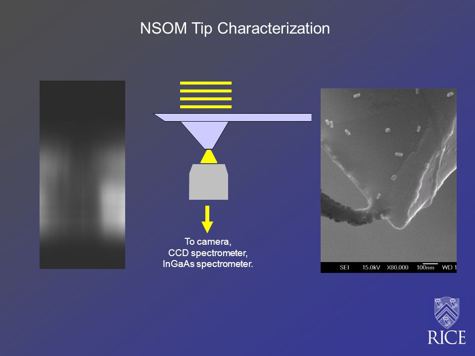 To camera, CCD spectrometer, InGaAs spectrometer. NSOM Tip Characterization