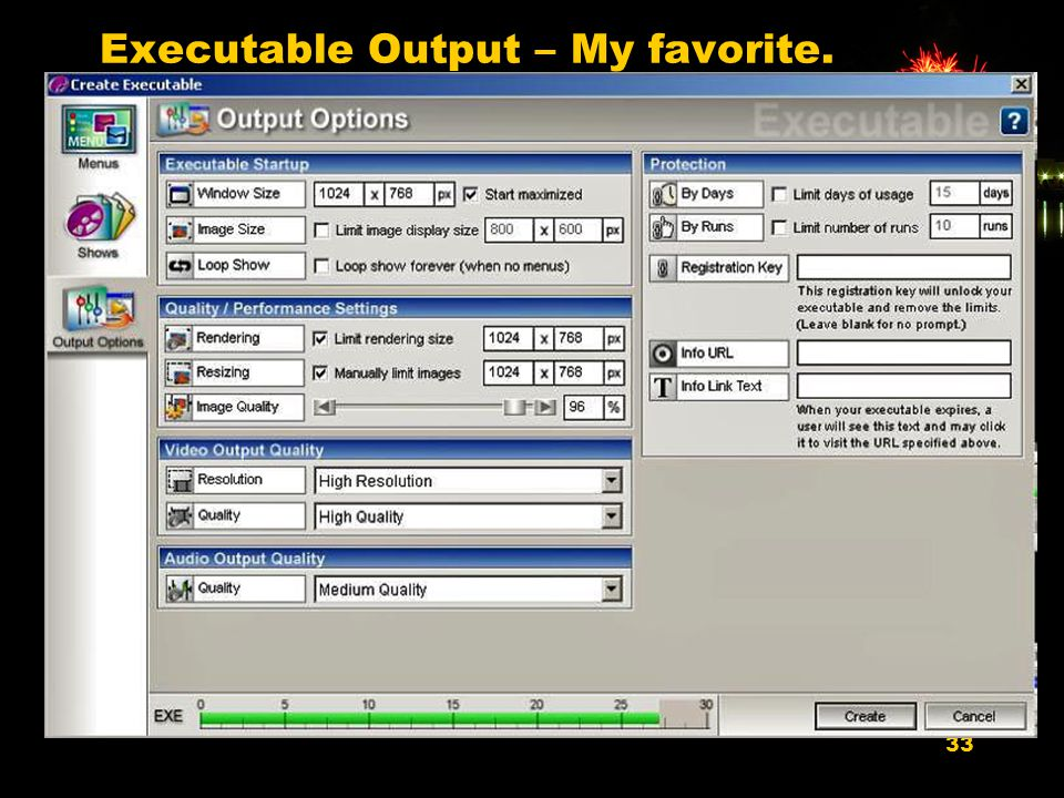 33 Executable Output – My favorite.