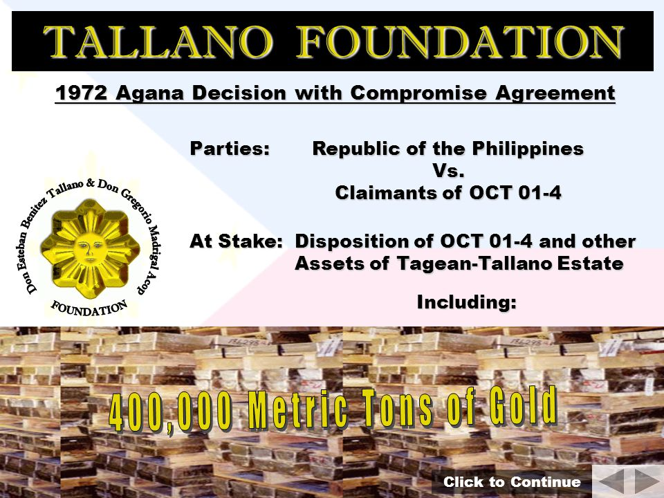 TALLANO FOUNDATION OCT 01-4 Its all about the Legacy of King Luisong Tagean For the HEIRS of that Legacy, the Filipino People: O C T riginal ertificate of itle 01 of - 4 Major Areas of the Philippines Click to Continue