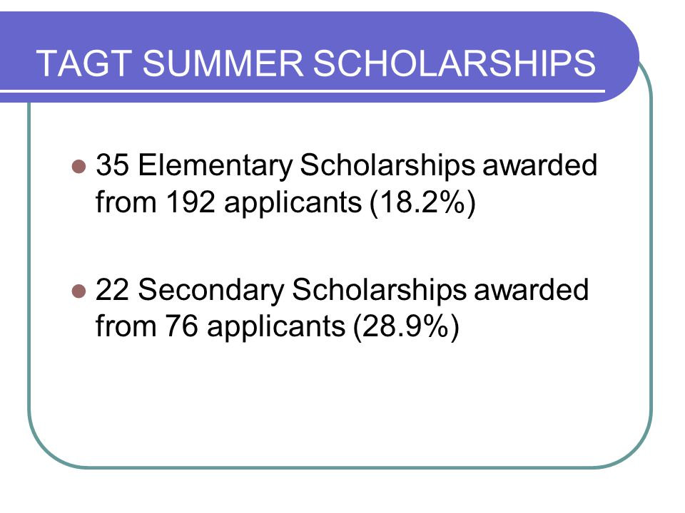TAGT SUMMER SCHOLARSHIPS 35 Elementary Scholarships awarded from 192 applicants (18.2%) 22 Secondary Scholarships awarded from 76 applicants (28.9%)