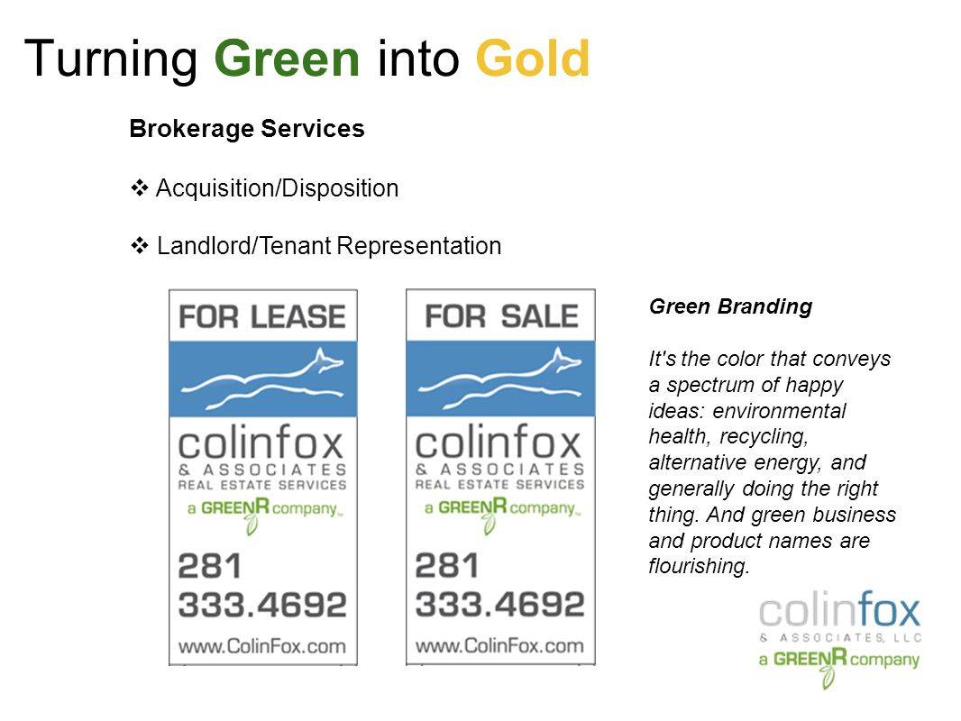 Turning Green into Gold Green Versus Non Green: March 2009 RICS Research Report titled Doing Well By Doing Good.