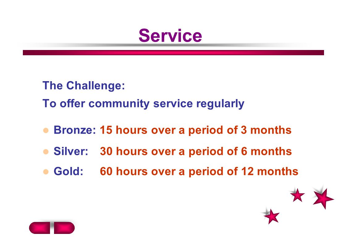 Service The Challenge: To offer community service regularly Bronze: 15 hours over a period of 3 months Silver: 30 hours over a period of 6 months Gold: 60 hours over a period of 12 months