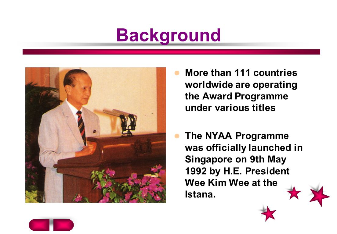 Background More than 111 countries worldwide are operating the Award Programme under various titles The NYAA Programme was officially launched in Singapore on 9th May 1992 by H.E.
