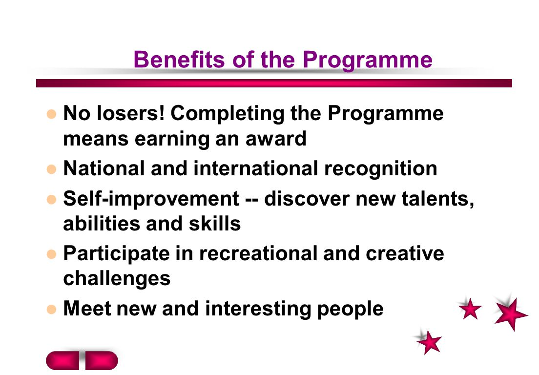 Benefits of the Programme No losers.