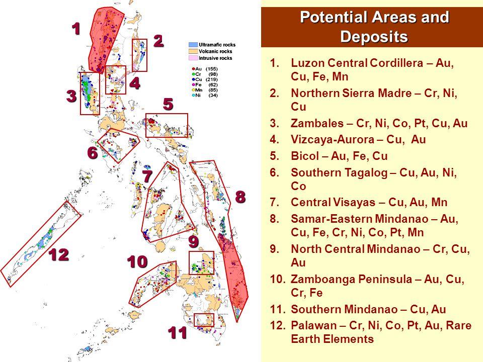 1 2 4 3 6 7 8 9 10 12 5 11 1.Luzon Central Cordillera – Au, Cu, Fe, Mn 2.Northern Sierra Madre – Cr, Ni, Cu 3.Zambales – Cr, Ni, Co, Pt, Cu, Au 4.Vizc