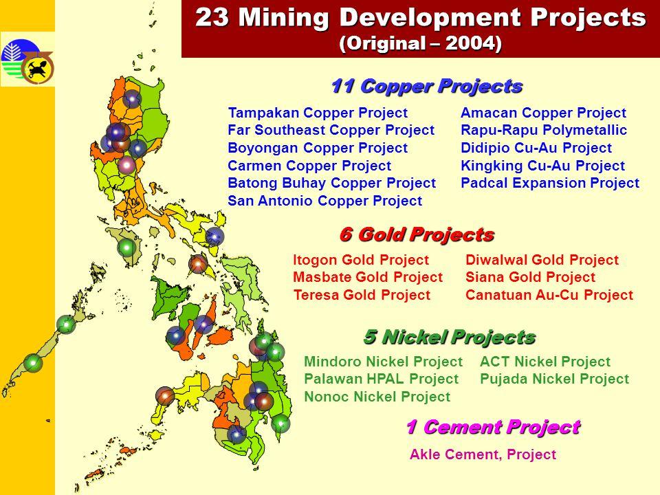 23 Mining Development Projects (Original – 2004) 11 Copper Projects Tampakan Copper Project Far Southeast Copper Project Boyongan Copper Project Carme