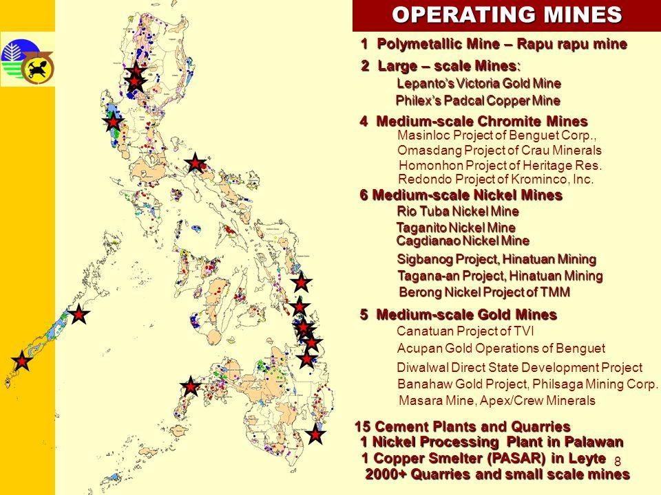 8 OPERATING MINES 2 Large – scale Mines: Lepantos Victoria Gold Mine Philexs Padcal Copper Mine 6 Medium-scale Nickel Mines Rio Tuba Nickel Mine Cagdi