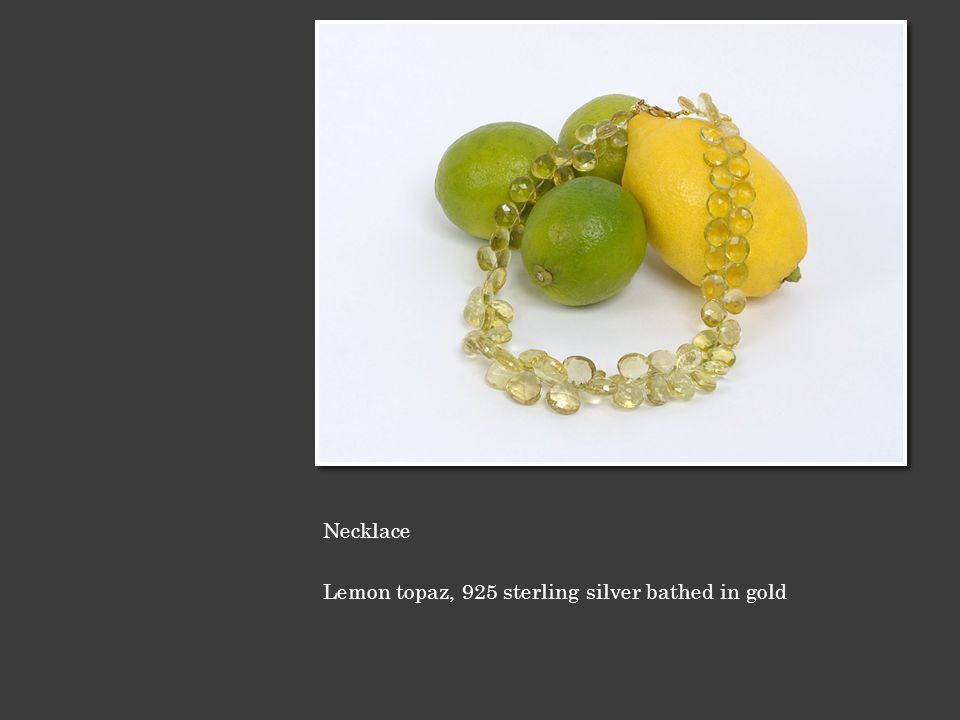 Necklace Lemon topaz, 925 sterling silver bathed in gold