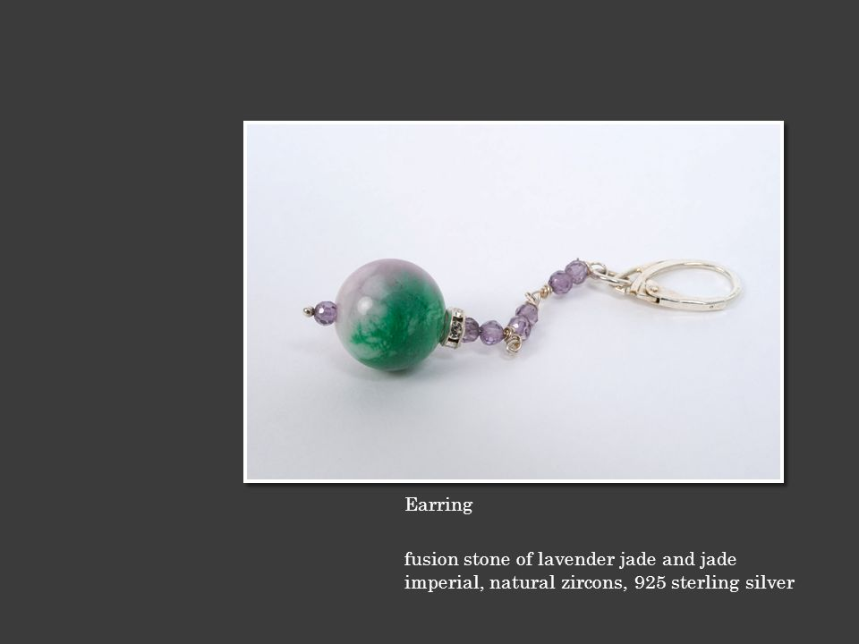 Earring fusion stone of lavender jade and jade imperial, natural zircons, 925 sterling silver