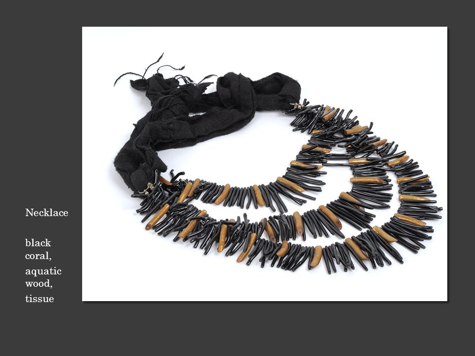 Necklace black coral, aquatic wood, tissue