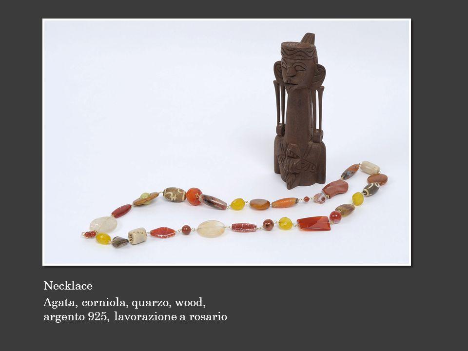 Necklace Agata, corniola, quarzo, wood, argento 925, lavorazione a rosario
