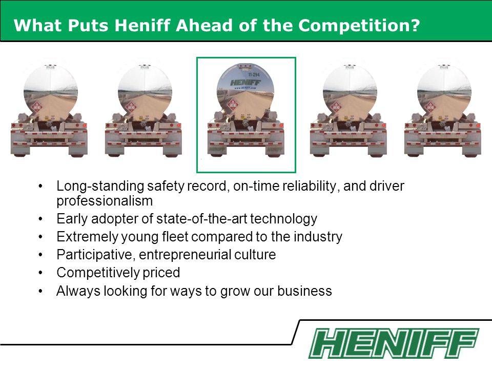 What Puts Heniff Ahead of the Competition.