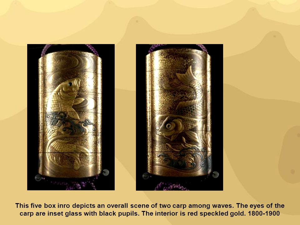 This five box inro depicts an overall scene of two carp among waves. The eyes of the carp are inset glass with black pupils. The interior is red speck