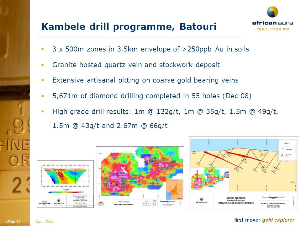 April 2009Slide 11 first mover gold explorer Kambele drill programme, Batouri 3 x 500m zones in 3.5km envelope of >250ppb Au in soils Granite hosted quartz vein and stockwork deposit Extensive artisanal pitting on coarse gold bearing veins 5,671m of diamond drilling completed in 55 holes (Dec 08) High grade drill results: 1m @ 132g/t, 1m @ 35g/t, 1.5m @ 49g/t, 1.5m @ 43g/t and 2.67m @ 66g/t