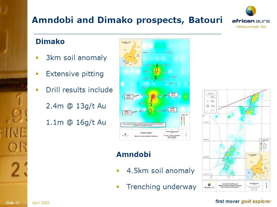 April 2009Slide 12 first mover gold explorer Amndobi and Dimako prospects, Batouri Dimako 3km soil anomaly Extensive pitting Drill results include 2.4m @ 13g/t Au 1.1m @ 16g/t Au Amndobi 4.5km soil anomaly Trenching underway