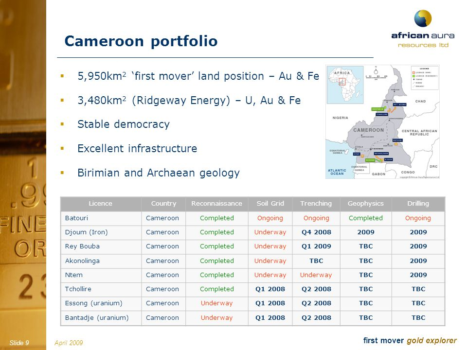 April 2009Slide 9 first mover gold explorer Cameroon portfolio 5,950km 2 first mover land position – Au & Fe 3,480km 2 (Ridgeway Energy) – U, Au & Fe Stable democracy Excellent infrastructure Birimian and Archaean geology LicenceCountryReconnaissanceSoil GridTrenchingGeophysicsDrilling BatouriCameroonCompletedOngoing CompletedOngoing Djoum (Iron)CameroonCompletedUnderwayQ4 20082009 Rey BoubaCameroonCompletedUnderwayQ1 2009TBC2009 AkonolingaCameroonCompletedUnderwayTBC 2009 NtemCameroonCompletedUnderway TBC2009 TchollireCameroonCompletedQ1 2008Q2 2008TBC Essong (uranium)CameroonUnderwayQ1 2008Q2 2008TBC Bantadje (uranium)CameroonUnderwayQ1 2008Q2 2008TBC