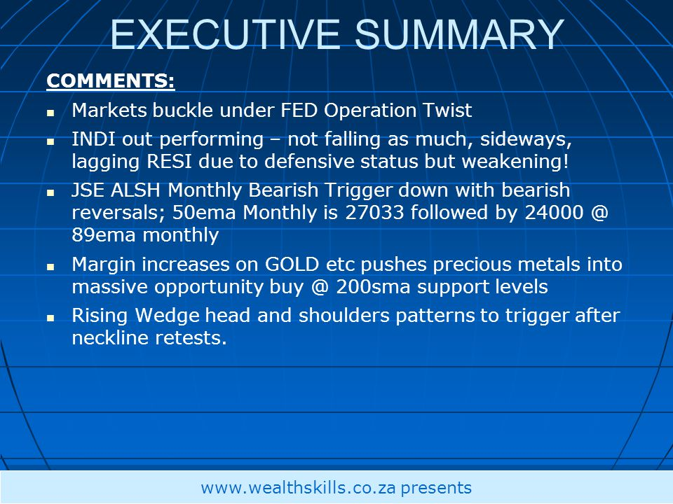 EXECUTIVE SUMMARY COMMENTS: Markets buckle under FED Operation Twist INDI out performing – not falling as much, sideways, lagging RESI due to defensive status but weakening.