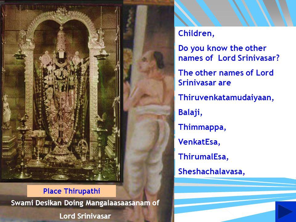 Swami Doing Nithya Anushtanam in Sri vari Swami Pushkarni at Thiruvenkatam or Thirupathi as is known popularly Place Thirupathi
