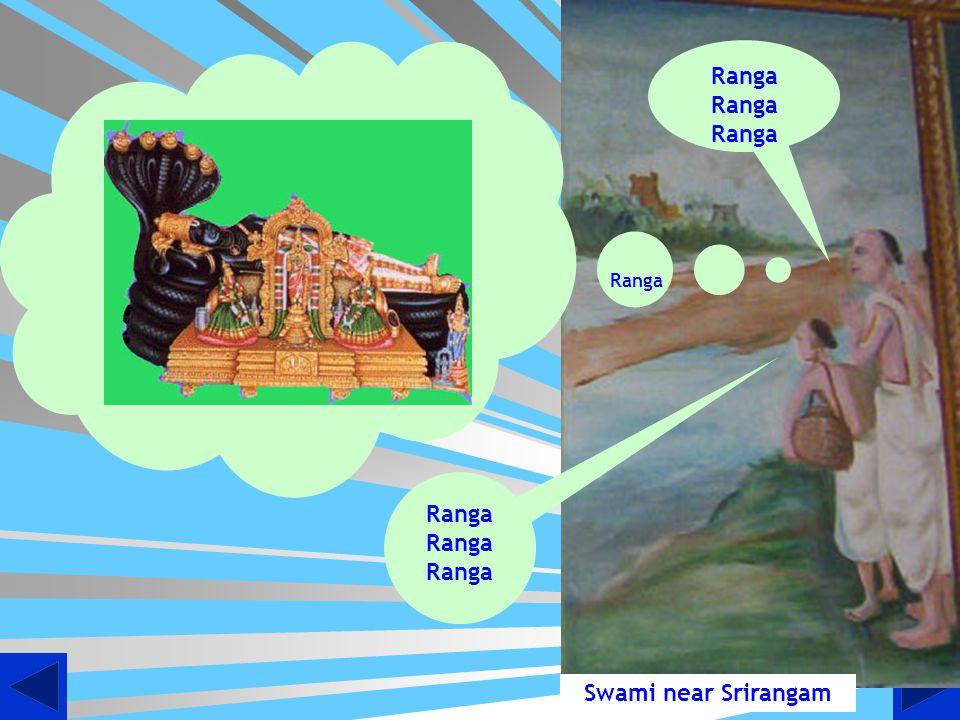 Swami Doing Mangalaasaasanam to Udayavar at Sriperumbuthur enroute to Srirangam Lord Ramanujas Thaan uganda thirumEni