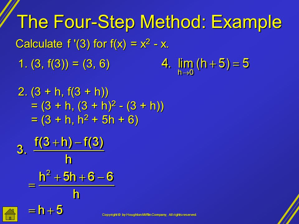 Copyright © by Houghton Mifflin Company, All rights reserved. The Four-Step Method: Example Calculate f '(3) for f(x) = x 2 - x. 1. (3, f(3)) = (3, 6)