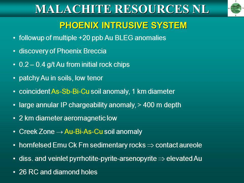 MALACHITE RESOURCES NL PHOENIX INTRUSIVE SYSTEM followup of multiple +20 ppb Au BLEG anomalies discovery of Phoenix Breccia 0.2 – 0.4 g/t Au from init