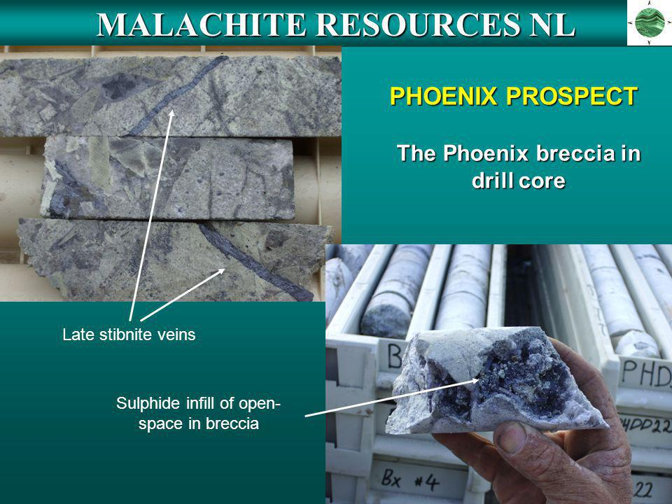 MALACHITE RESOURCES NL PHOENIX PROSPECT Late stibnite veins Sulphide infill of open- space in breccia The Phoenix breccia in drill core