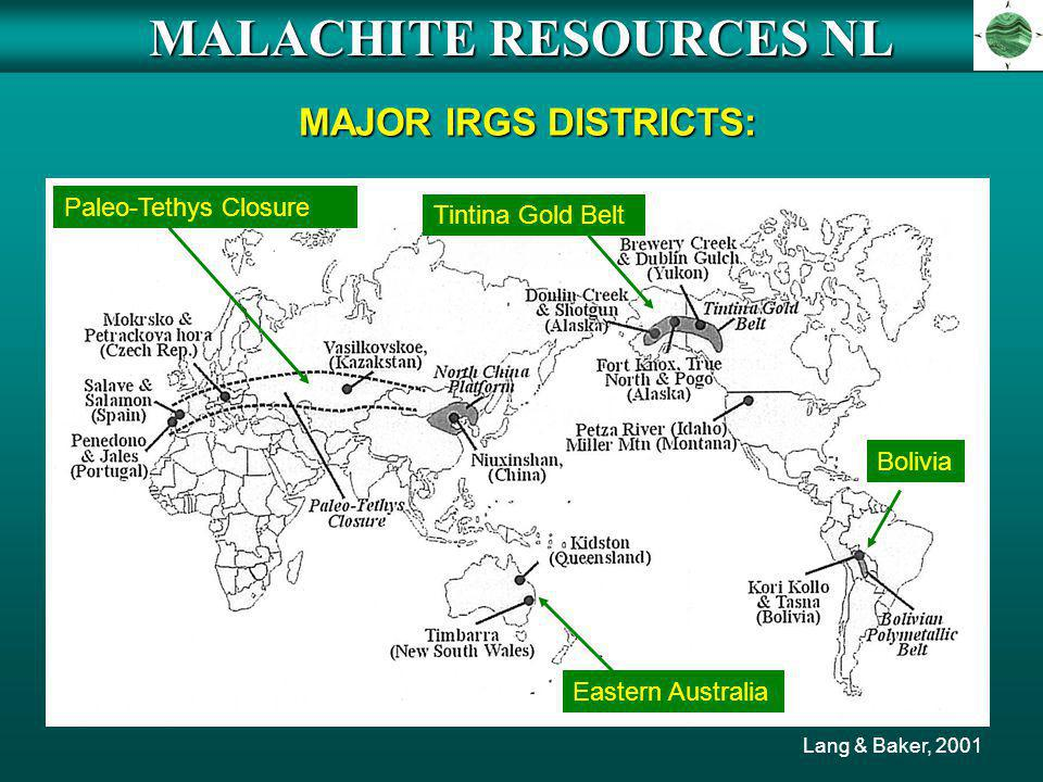 MALACHITE RESOURCES NL MAJOR IRGS DISTRICTS: Lang & Baker, 2001 Paleo-Tethys Closure Tintina Gold Belt Eastern Australia Bolivia