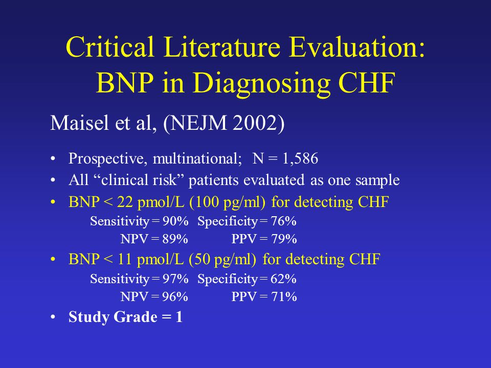 Critical Literature Evaluation: BNP in Diagnosing CHF Maisel et al, (NEJM 2002) Prospective, multinational; N = 1,586 All clinical risk patients evaluated as one sample BNP < 22 pmol/L (100 pg/ml) for detecting CHF Sensitivity = 90%Specificity = 76% NPV = 89% PPV = 79% BNP < 11 pmol/L (50 pg/ml) for detecting CHF Sensitivity = 97%Specificity = 62% NPV = 96% PPV = 71% Study Grade = 1