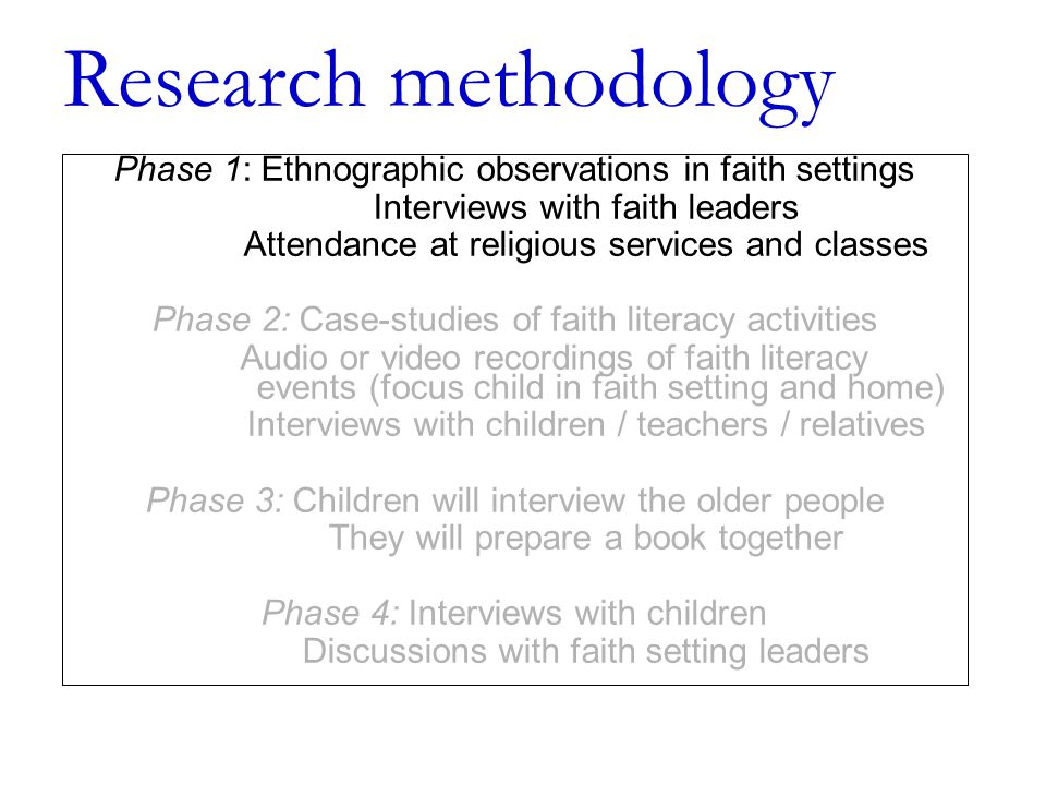 Research methodology Phase 1: Ethnographic observations in faith settings Interviews with faith leaders Attendance at religious services and classes Phase 2: Case-studies of faith literacy activities Audio or video recordings of faith literacy events (focus child in faith setting and home) Interviews with children / teachers / relatives Phase 3: Children will interview the older people They will prepare a book together Phase 4: Interviews with children Discussions with faith setting leaders